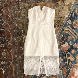 Adelyn Rae White Lace Strapless Dress